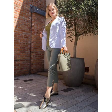 Rosemunde Babette Rib Silk Lace Trim Fitted Top - Green