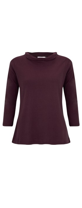 Adini Sacha Soft Roll Neck Top Burgundy