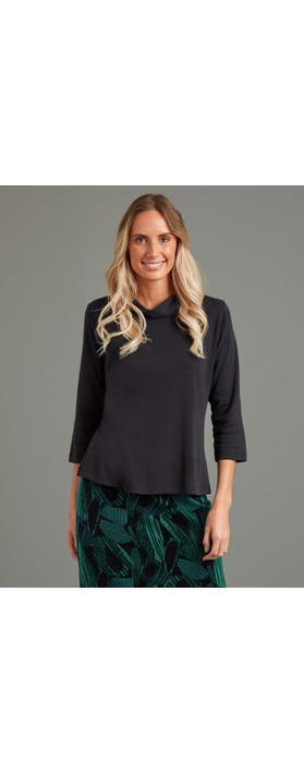 Adini Sacha Soft Roll Neck Top Black
