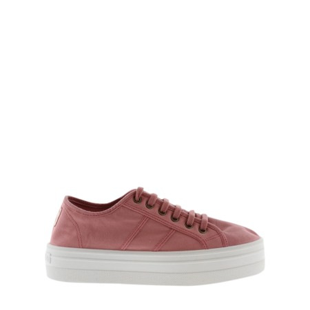 Victoria Shoes Barcelona Organic Cotton Washable Flatform Trainer Shoe  - Pink