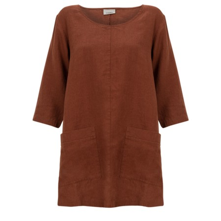 Thing Two Pocket Winter Linen Top - Brown