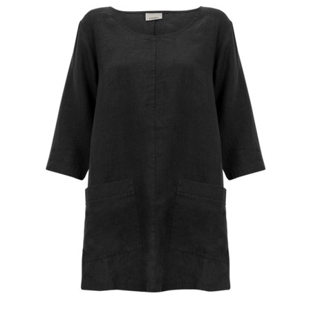 Thing Two Pocket Winter Linen Top - Black