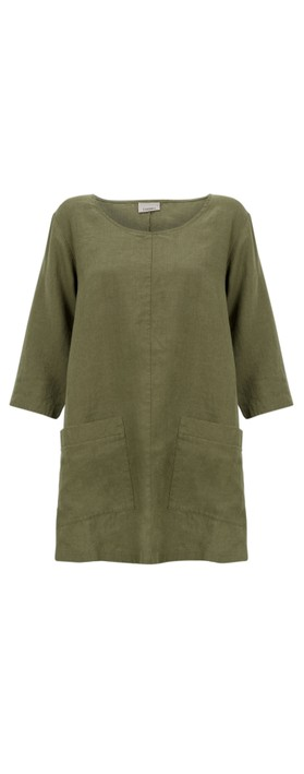 Thing Two Pocket Winter Linen Top Herb