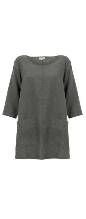 Thing Two Pocket Winter Linen Top Ash