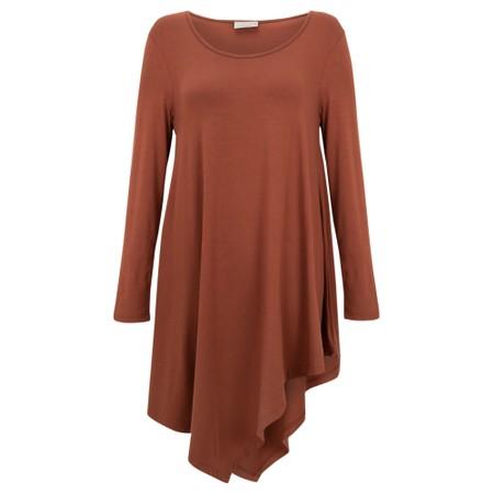 Thing Asymmetric Hem Long Sleeve Bamboo Jersey Long Top - Brown