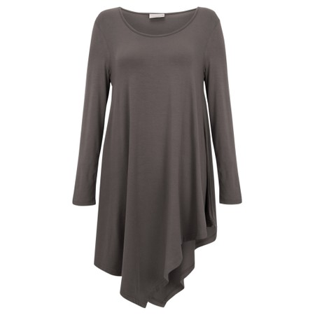 Thing Asymmetric Hem Long Sleeve Bamboo Jersey Long Top - Grey