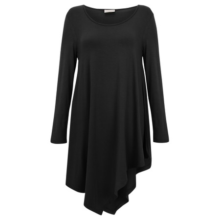 Thing Asymmetric Hem Long Sleeve Bamboo Jersey Long Top - Black
