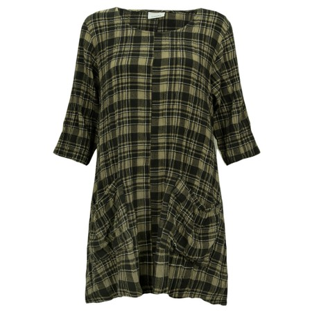 Thing Two Pocket Check Print Tunic - Green