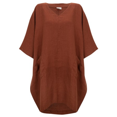Thing Winter Linen Tunic Dress with Pockets  - Brown