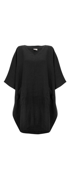 Thing Winter Linen Tunic Dress with Pockets  Black