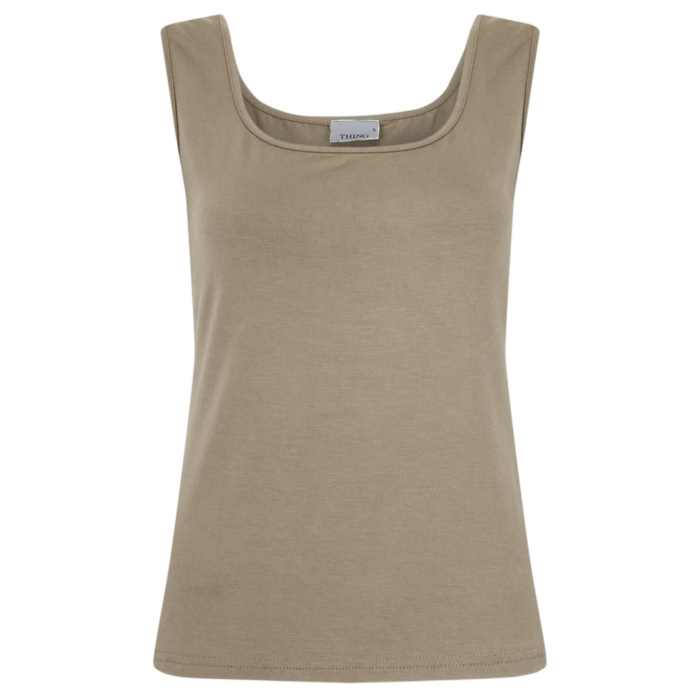 Thing Square Neck Bamboo Sleeveless T-Shirt Sand
