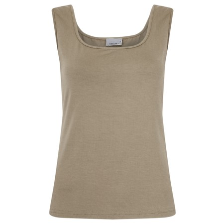 Thing Square Neck Bamboo Sleeveless T-Shirt - Beige