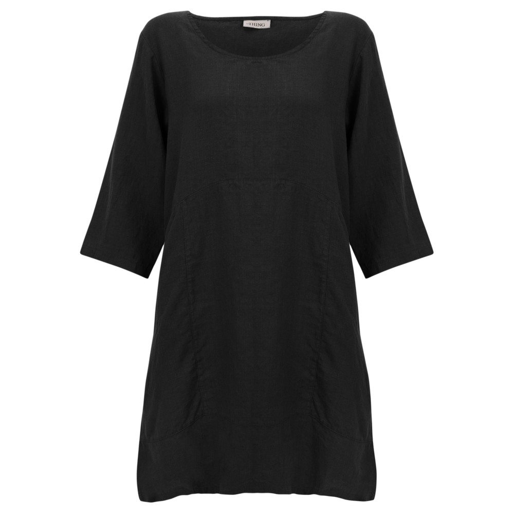 Thing Two Pocket Winter Linen Tunic Black