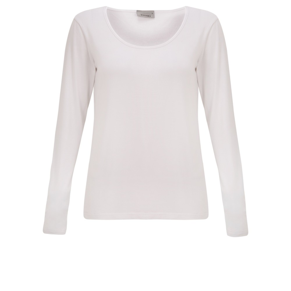 Thing Long Sleeved Round Neck Bamboo Fitted T-Shirt White