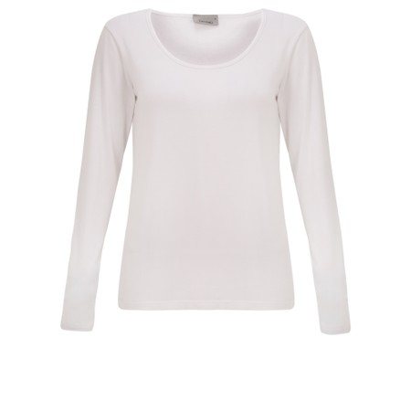 Thing Long Sleeved Round Neck Bamboo Fitted T-Shirt - White