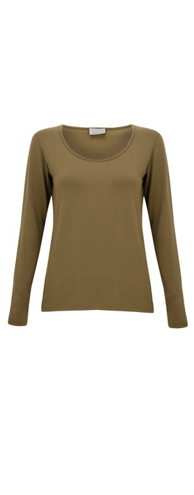 Thing Long Sleeved Round Neck Bamboo Fitted T-Shirt ochre