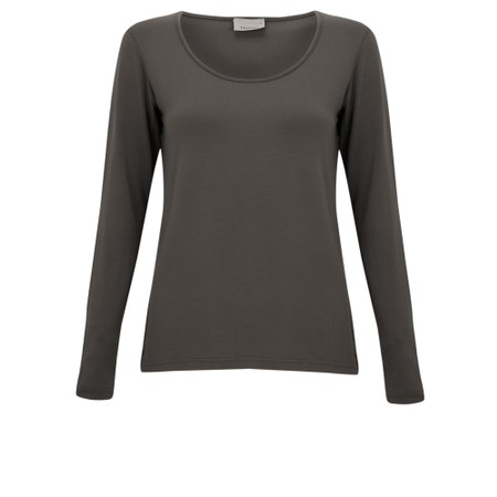 Thing Long Sleeved Round Neck Bamboo Fitted T-Shirt - Grey