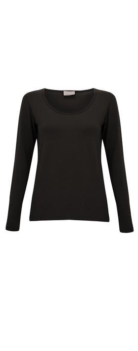 Thing Long Sleeved Round Neck Bamboo Fitted T-Shirt Black
