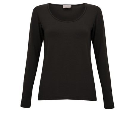 Thing Long Sleeved Round Neck Bamboo Fitted T-Shirt - Black