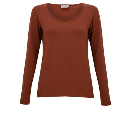 Thing Long Sleeved Round Neck Bamboo Fitted T-Shirt - Brown