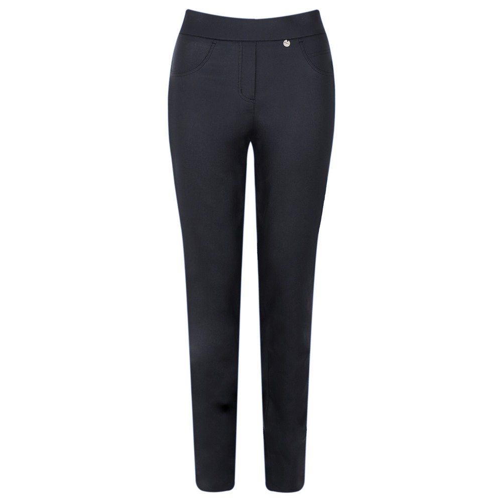Robell Rose Navy Faux Leather Trouser Navy 69