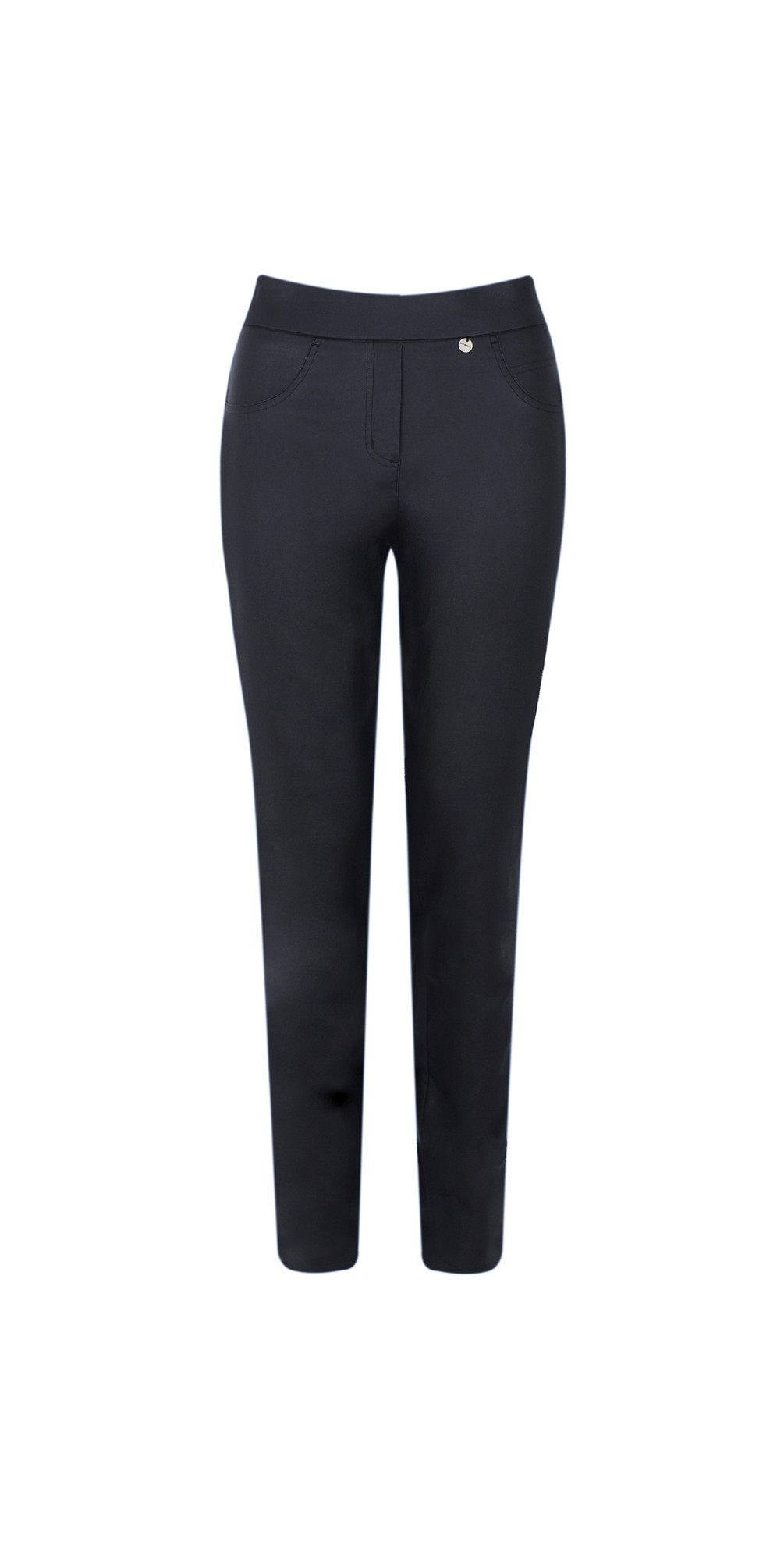 Rose Navy Faux Leather Trouser main image