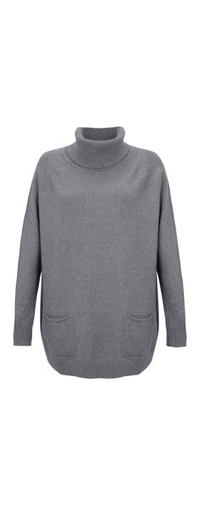 Amazing Woman Anna Two Pocket Relaxed Fit Jumper Grey Marl