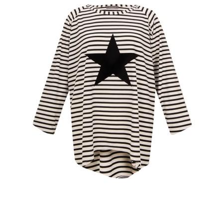 Chalk Robyn Stripe Star Top - Black
