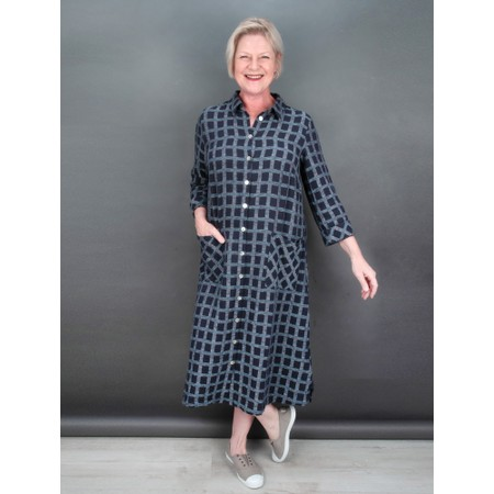 Sahara Cotton Ikat Check Shirt Dress - Multicoloured