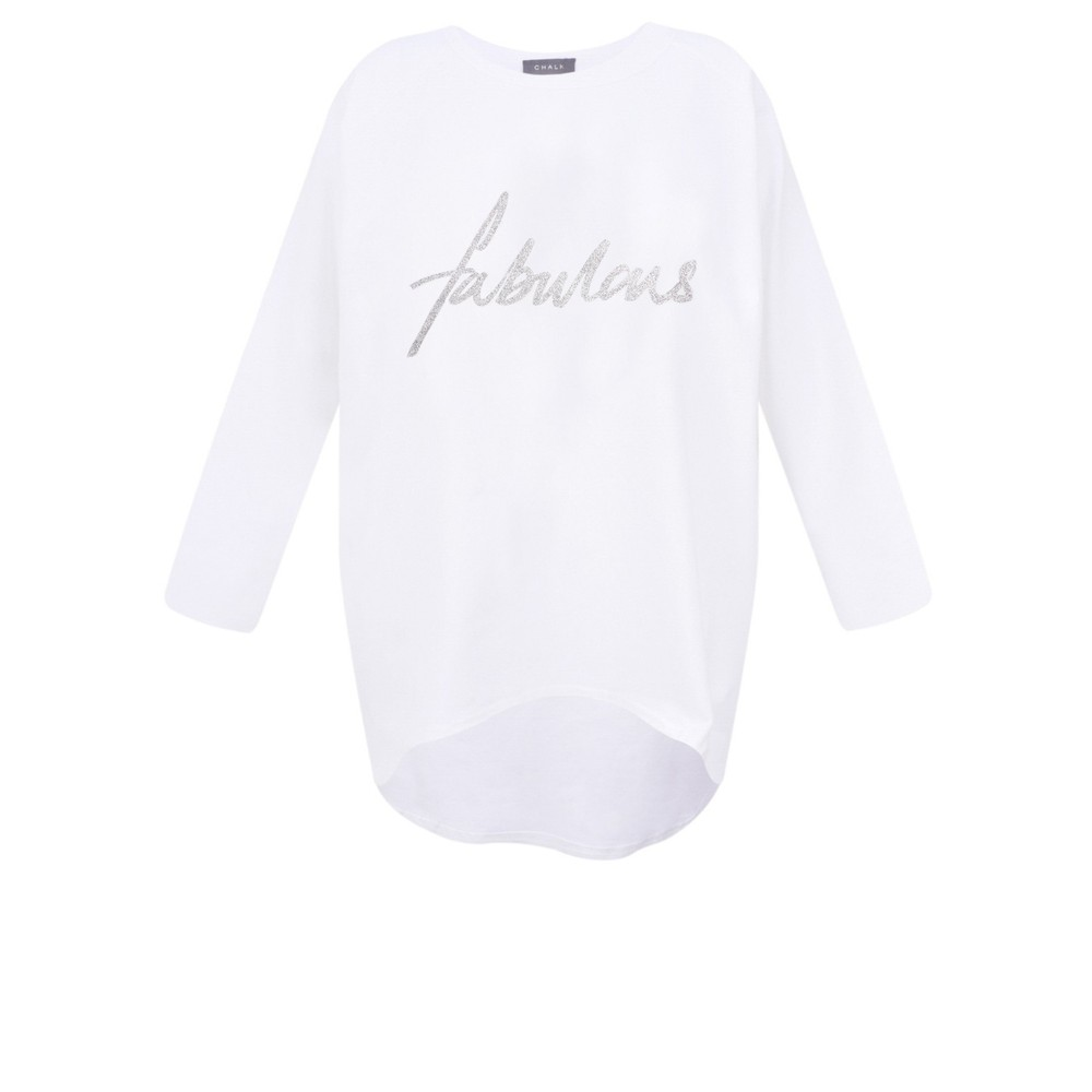 Chalk Gemini Exclusive ! Robyn Fabulous Top White / Silver Glitter