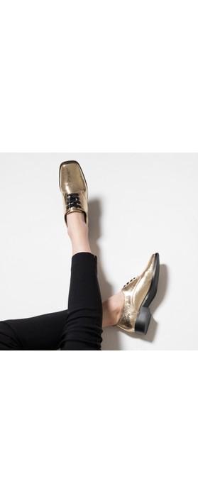 Vanessa Wu Richelieus Lace Up Shoe Oro Crackle