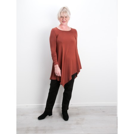 Thing Asymmetric Hem Long Sleeve Bamboo Jersey Long Top - Brown