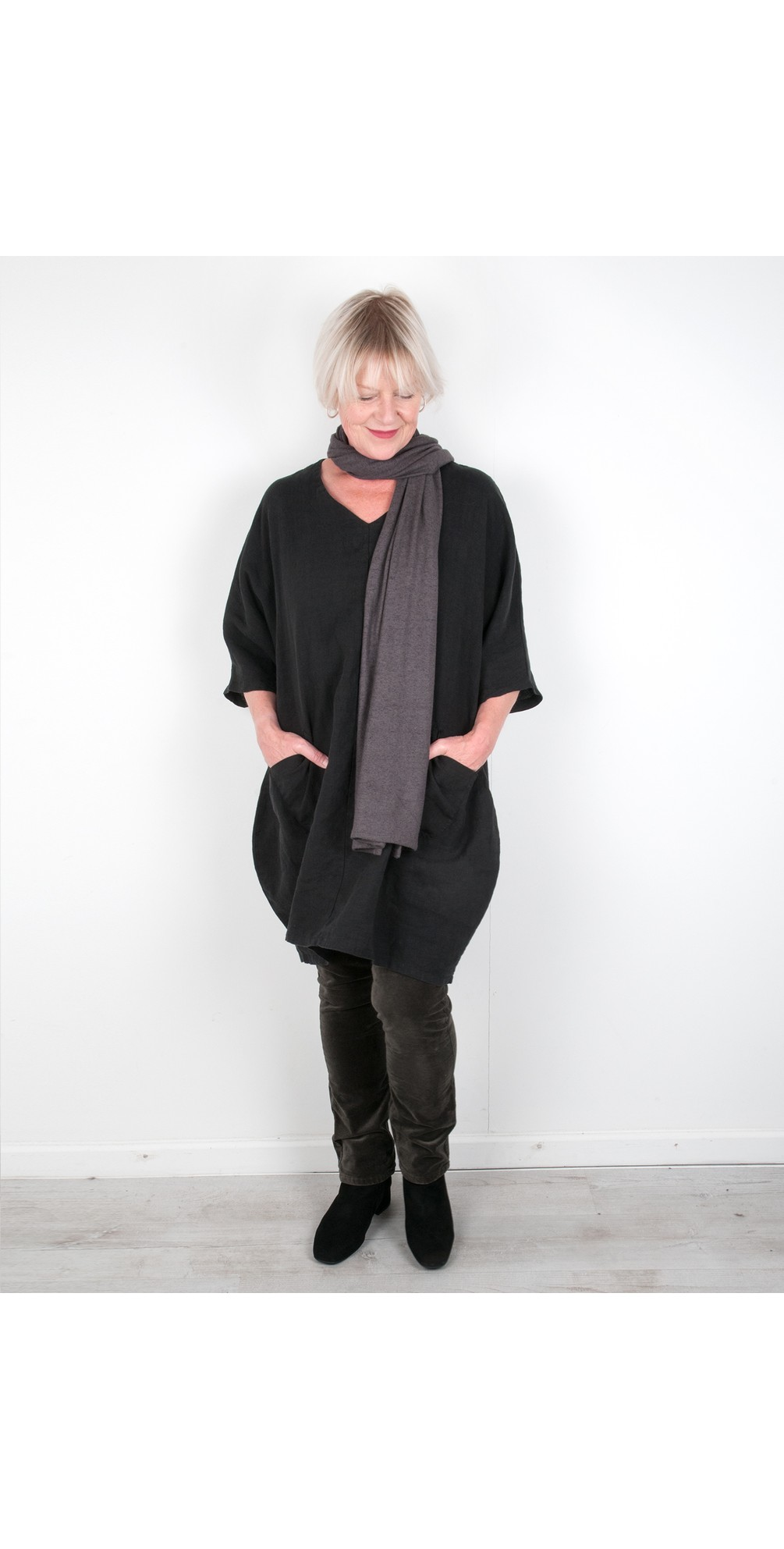 Winter Linen Tunic Dress with Pockets  main image