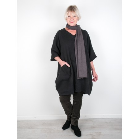 Thing Winter Linen Tunic Dress with Pockets  - Black