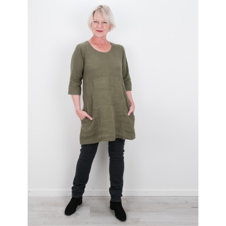 Thing Two Pocket Winter Linen Tunic - Green