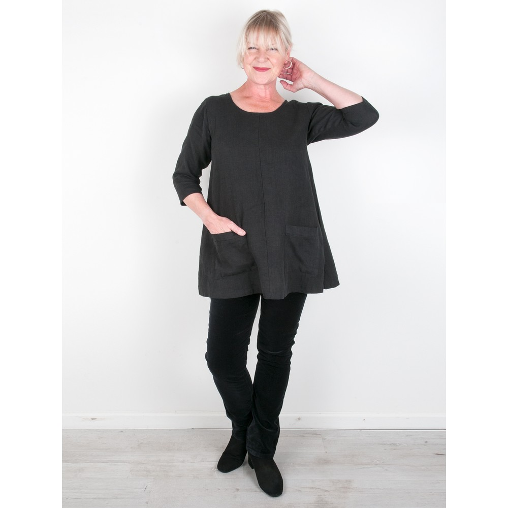Thing Two Pocket Winter Linen Top Black