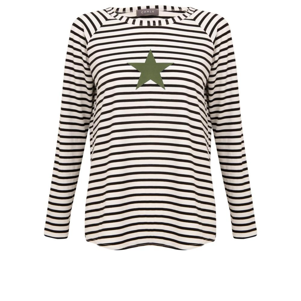 Chalk Tasha Stripe Small Star Top Black / White / Khaki