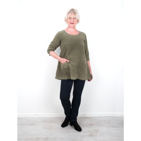 Thing Two Pocket Winter Linen Top - Green