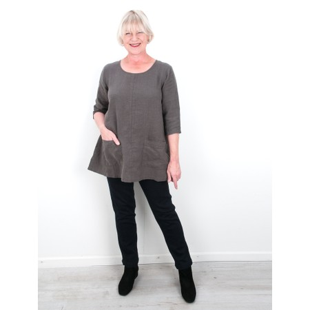 Thing Two Pocket Winter Linen Top - Grey
