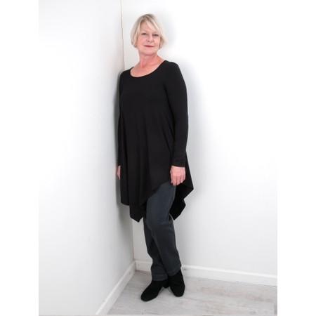 Thing Asymmetric Hem Long Sleeve Bamboo Jersey Long Top - Black