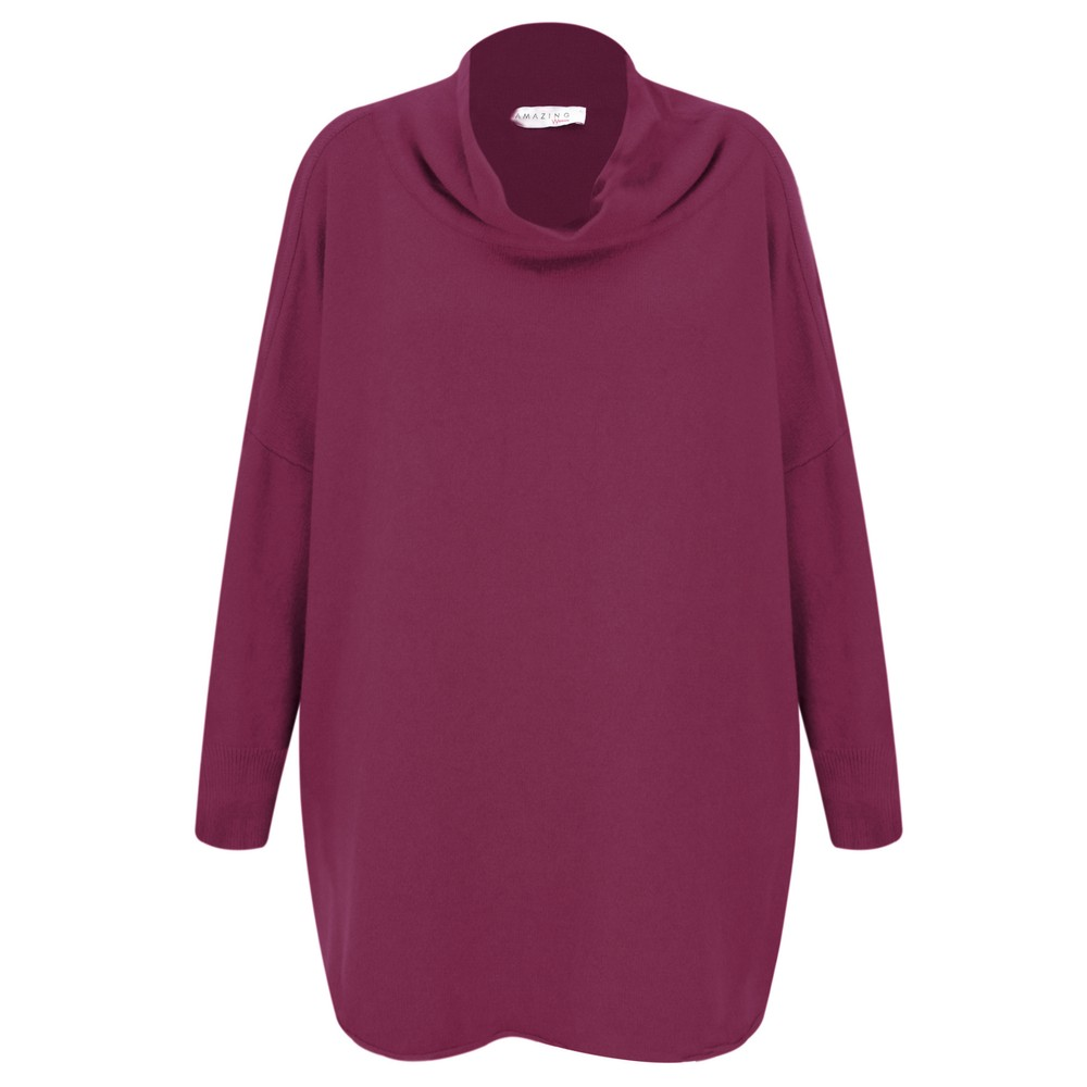 Amazing Woman Vera Oversized Knit Jumper Plum
