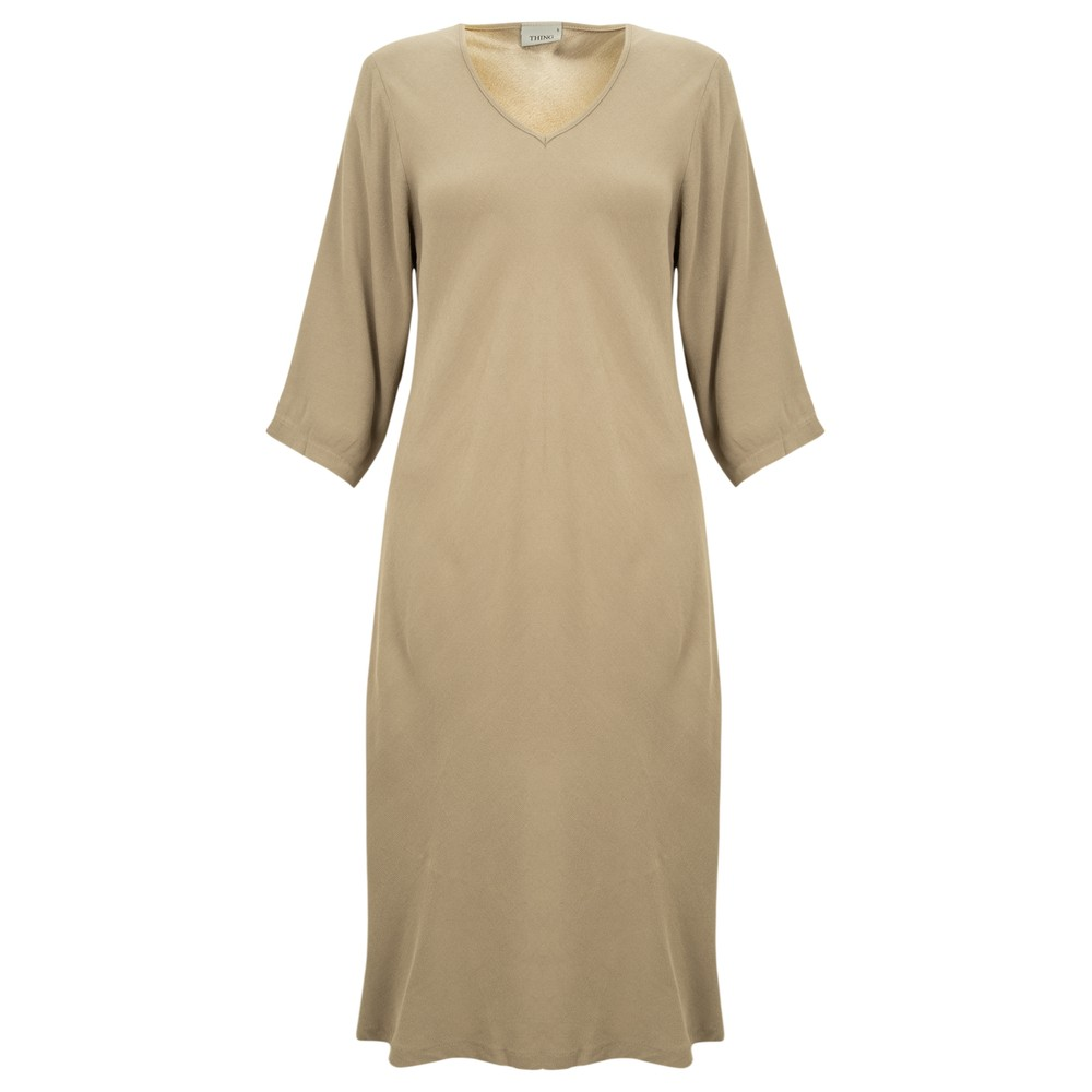 Thing V Neck Fit and Flare Crepe Dress Sand
