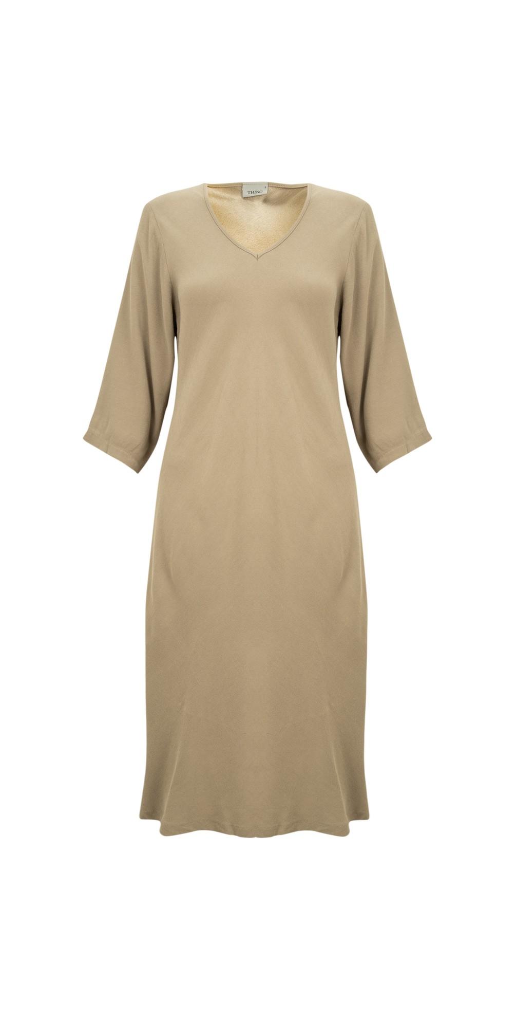 V Neck Fit and Flare Crepe Dress main image