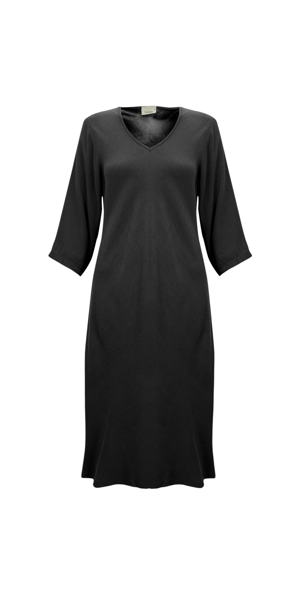 V Neck Fit and Flare Crepe Dress main image
