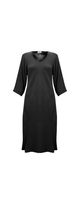 Thing V Neck Fit and Flare Crepe Dress Black