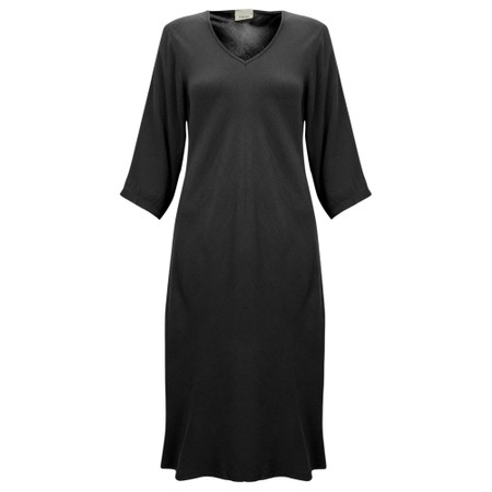 Thing V Neck Fit and Flare Crepe Dress - Black