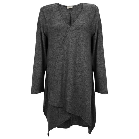 Thing Asymmetric Hem Long Supersoft Fleece Tunic - Grey