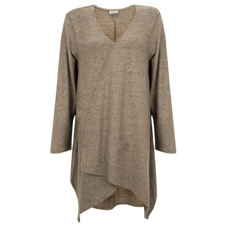 Thing Asymmetric Hem Long Supersoft Fleece Tunic - Beige