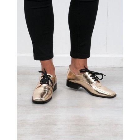 Vanessa Wu Richelieus Lace Up Shoe - Gold