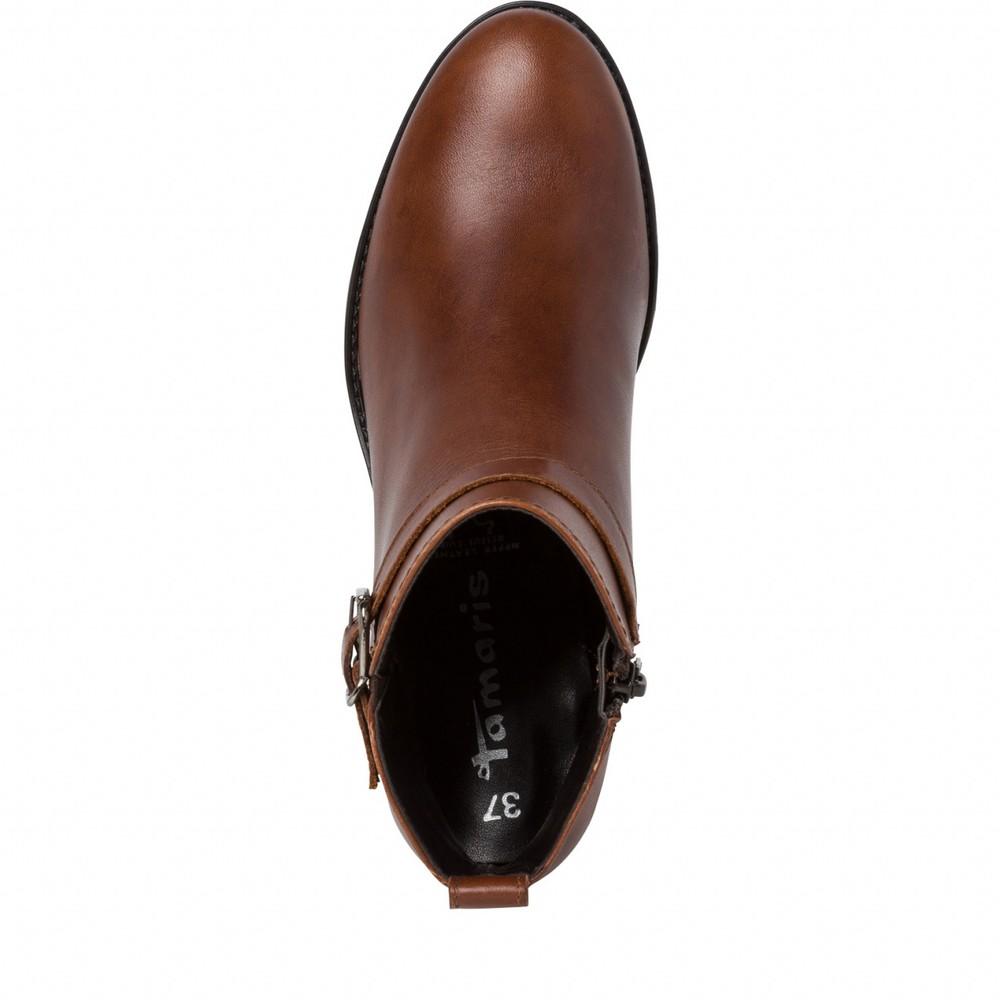 Tamaris Pauletta Buckle Detail Leather Ankle Boot Cognac